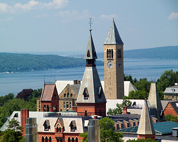 Rooftops of Cornell University with Cayuga lake in the background
