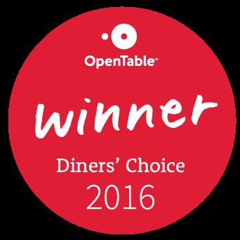 OpenTable Diners' Choice Award Winner 2016
