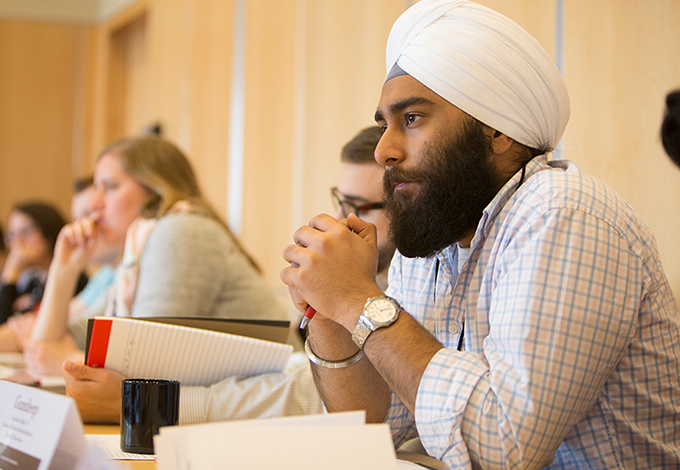 Gundeep Singh speaking at a CIHLER roundtable