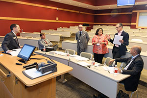 Judges discussing at the 2016 Pitch Deck competition