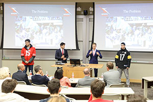 A group presenting at the 2016 Pitch Deck competition