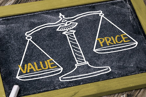 Scale with the word value on one side and the word price on the other