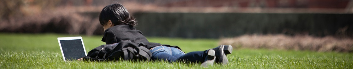 Student in grass with laptop