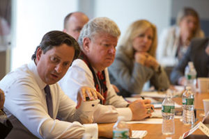 Group talking at the 2014 Cornell Retail Real Estate Roundtable