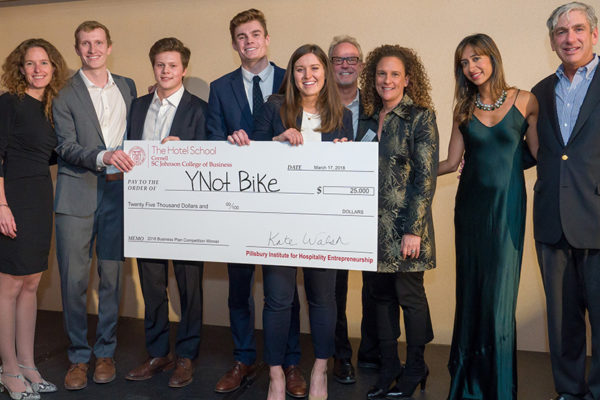 Team YNot Bike being honored as winners of the 2018 Hospitality Business Plan Competition