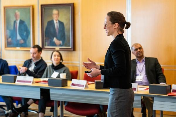Prof. Eva Steiner speaking at a CHR Advisory Board Meeting in Spring 2019