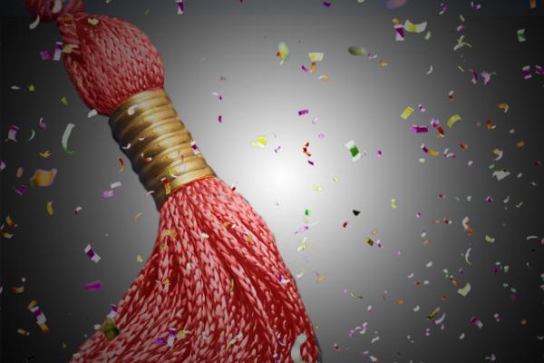 Graduation tassel with confetti
