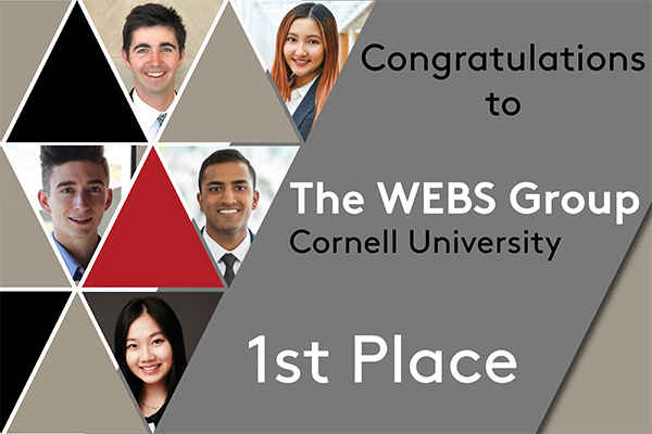 Cornell University was represented by: Timothy Bergen '21, Sharon Chen '22, William McGrath '21, Jai Patel '22, Carol Wang '21.
