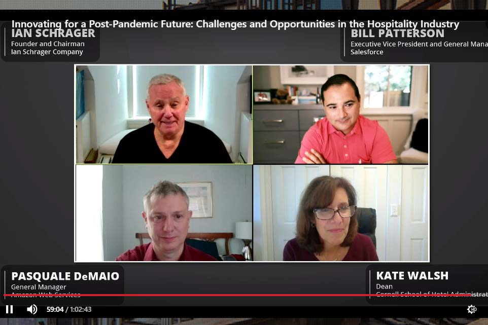 Image of Dean Walsh and hotel and tech leaders Ian Schrager, Bill Patterson and Pasquale DeMaio, explore the landscape of post-pandemic customer relations on a zoom style meet up