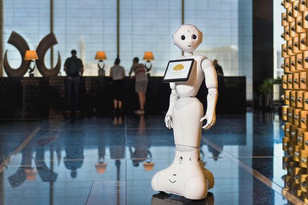 A robotic hotel concierge at work