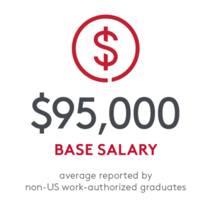 Statistic: $95,000 average base salary reported by non-US work-authorized graduates