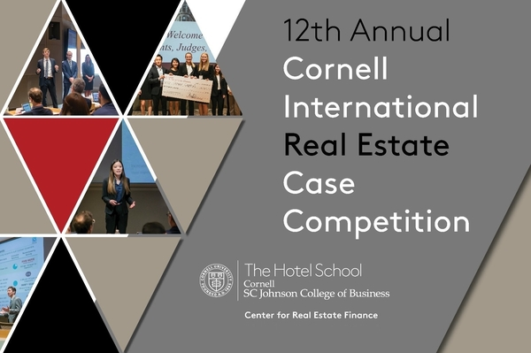 Title slide for Cornell International Real Estate Case Competition shows judges, winners, and students