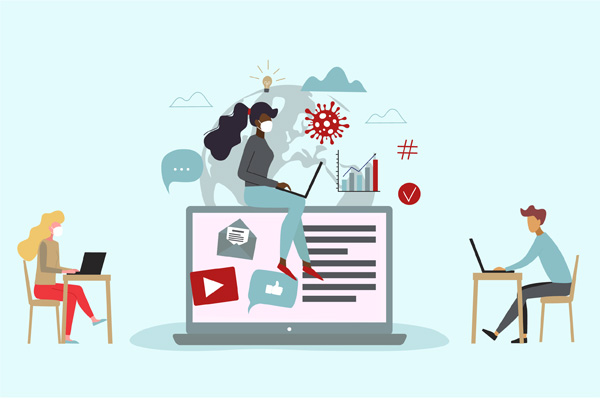 illustrated people on computers working remotely