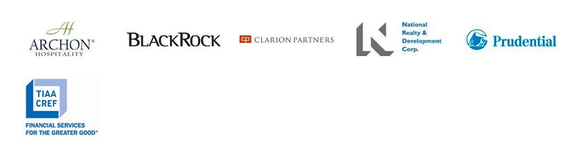 Logo images for Archon Hospitality, BlackRock, Clarion Partners, National Realty & Development Corp, Prudential, TIAA/CREF