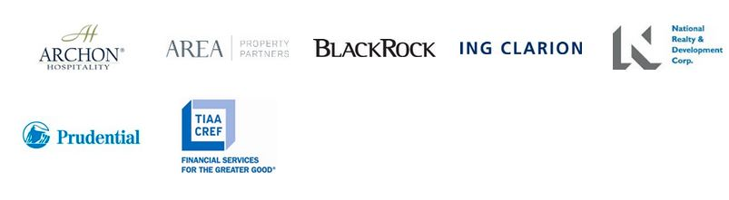 Logo images for Archon Hospitality, Area Property Partners, BlackRock, Ing Clarion, National Realty & Development Corp, Prudential, TIAA/CREF