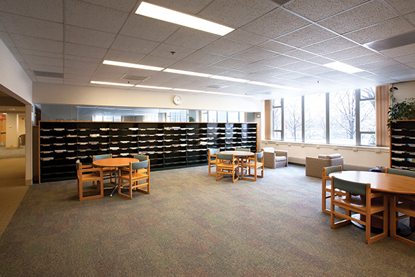 Work spaces within the Nestlé Library in Statler Hall