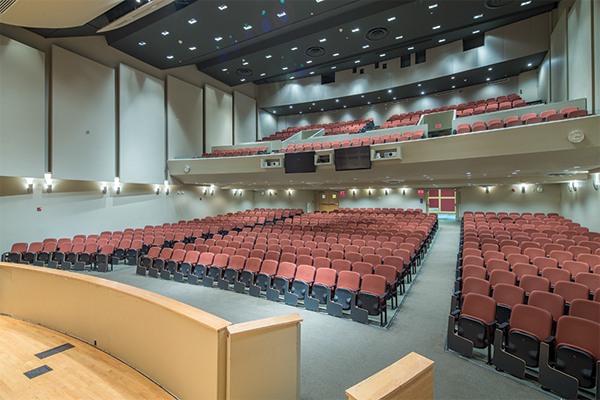 View of the seats in the Alice Statler Auditorium from the stage