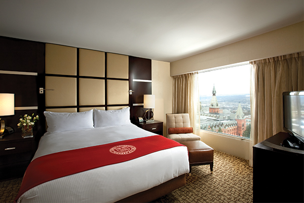 Statler Hotel room with a view of the Cornell campus out the window