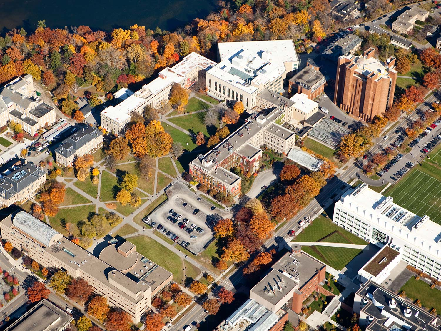 Aerial view of the Cornell campus during fall