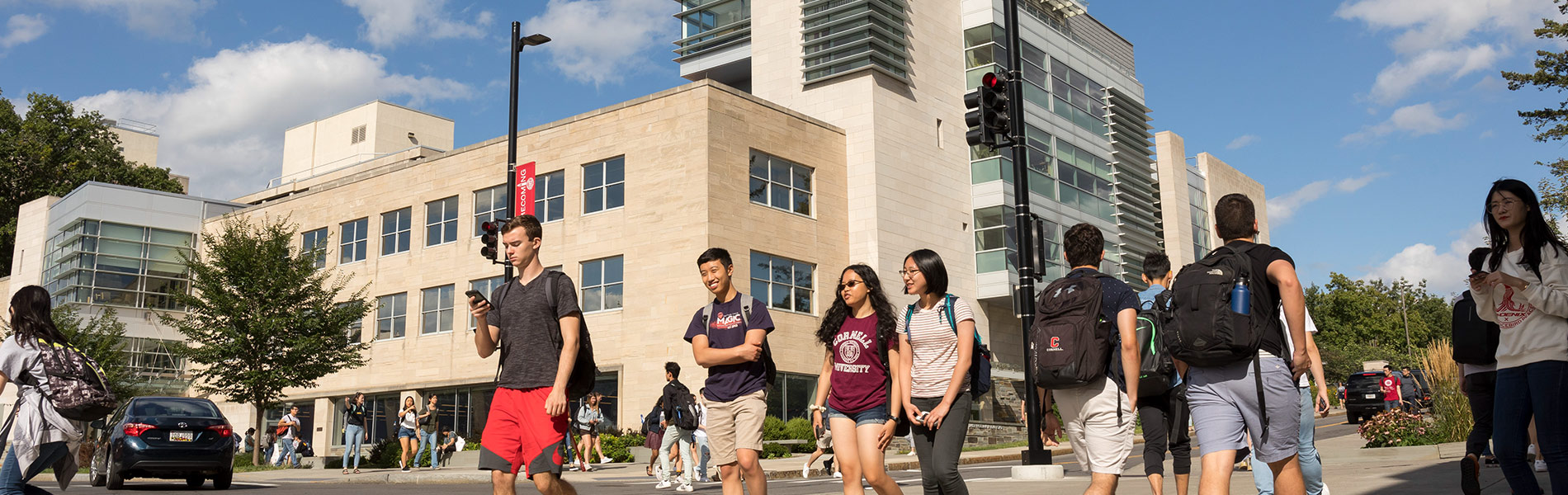 Students walking on the Cornell campus