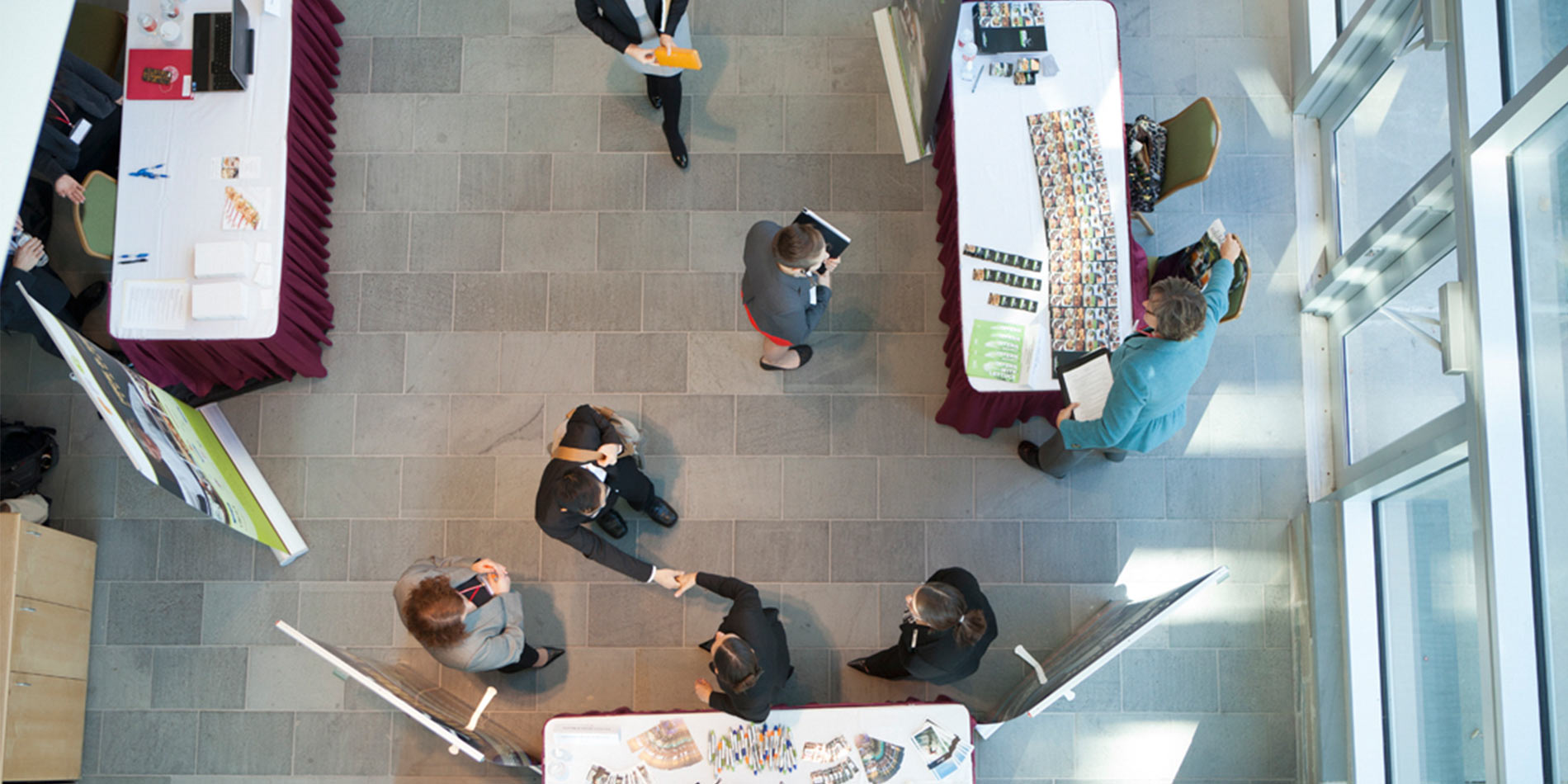 Birdseye view of students in the atrium